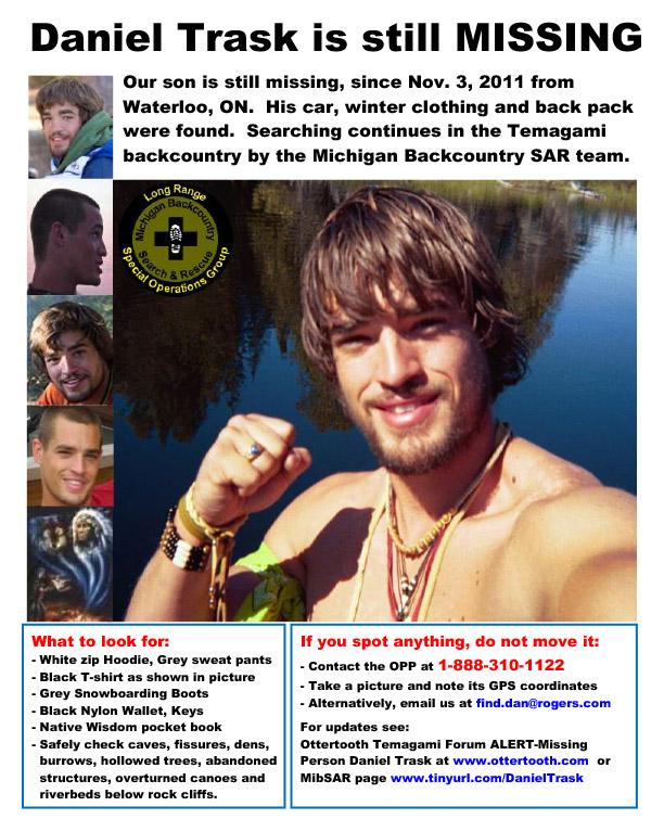 Ontario's Northern Newspaper - The Temiskaming Speaker - 2014 Search for Daniel Trask Resumes